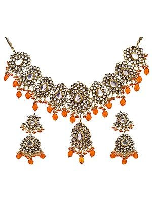 Kundan Necklace Set with Orange Beads