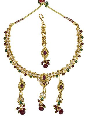 Faux Ruby and Emerlad Necklace Set with Cut Glass