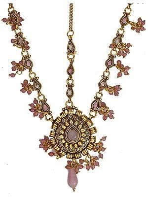 Pink Matha-Patti with Cut Glass - jeweled-hair-ornament