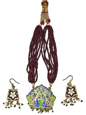 Brown Bridal Necklace Set with Peacock Pair and Star-Spangled on Earrings