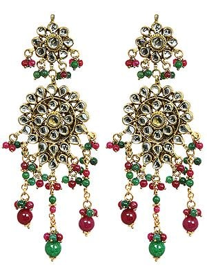 Faux-Ruby and Emerald Kundan Earrings
