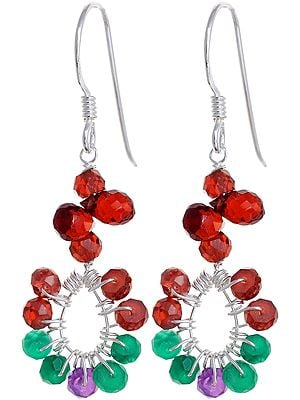 Faceted Triple Gemstone Earrings (Garnet, Green Onyx and Amethyst)