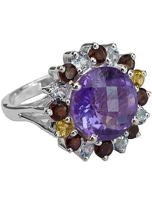 Faceted Amethyst Ring with Garnet, Citrine and BT