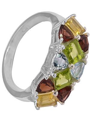 Faceted Four Gemstone Ring (Citrine, Garnet, Peridot and Blue Topaz)
