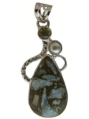 Agate Pendant with Citrine and Pearl