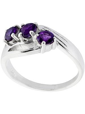 Faceted Triple Amethyst Ring