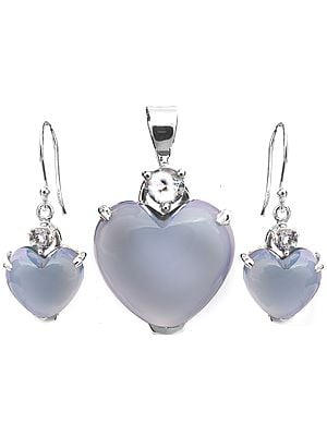 Blue Chalcedony Heart-Shape Pendant with Earrings Set
