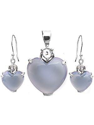Blue Chalcedony Heart-Shape Pendant with Earrings Set
