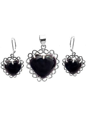 Black Onyx Heart-Shape Pendant with Earrings Set