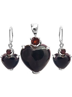 Black Onyx Heart-Shape Pendant with Garnet and Earrings Set