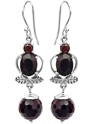 Black Spinel Earrings with Garnet