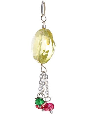 Faceted Lemon Topaz Pendant with Ruby and Emerald