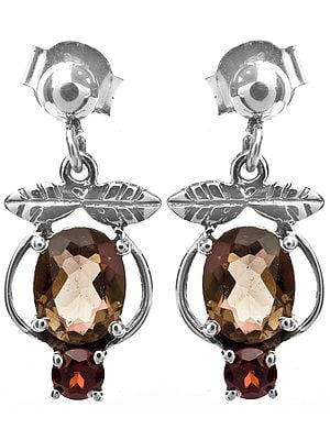 Faceted Smoky Quartz Earrings with Garnet