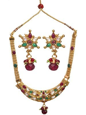 Faux And Ruby Emerald Necklace Set
