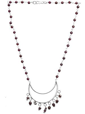 Garnet Necklace with Crescent