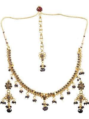 Black Polki Necklace Set with Mang Tika