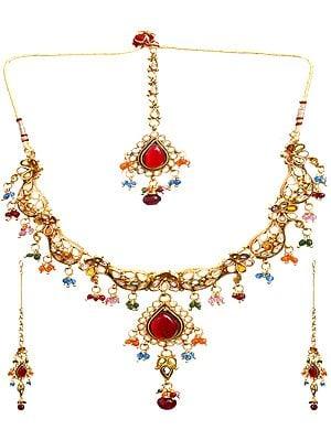 Floral Polki Necklace Set with Mang Tika