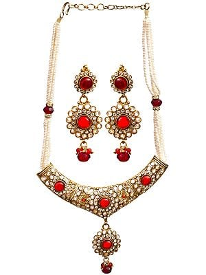 Faux Pearl and Red Glass Polki Necklace with Earrings Set