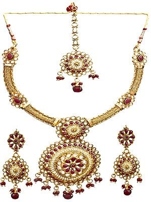 Faux Ruby Polki Choker Set with Filigree