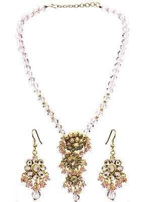 Kundan Beaded Necklace with Earrings