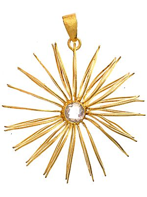 Sterling Gold Plated Designer Pendant with Faceted Crystal
