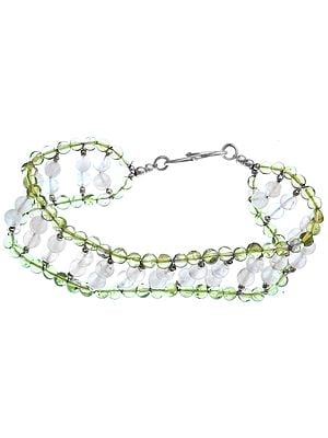Rose Quartz and Peridot Beaded Bracelet