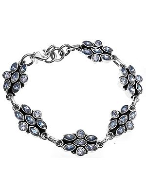 Sterling Bracelet with Faceted Gems