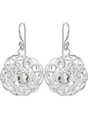 Sterling Lattice Earrings with Faceted Gems