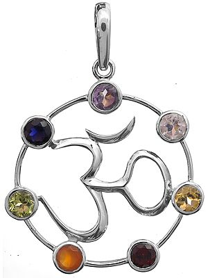 OM (AUM) Pendant with Faceted Gems