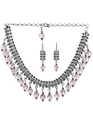 Faceted Rose Quartz Necklace with Earrings Set