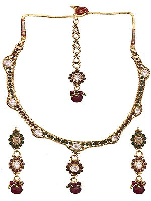 Faux Ruby Necklace Set with Earrings Set and Mang Tika