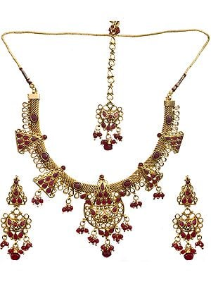 Faux Ruby Necklace With Earrings Set and Mang Tika