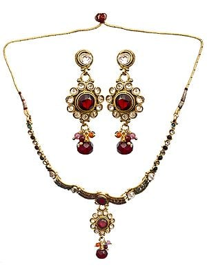 Multi-Color Polki Set With Earrings