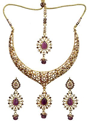 Pink Polki Necklace Set with Mang Tika