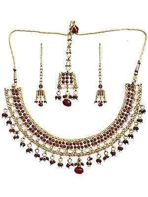 Faux Ruby Necklace Set With Cut Glass
