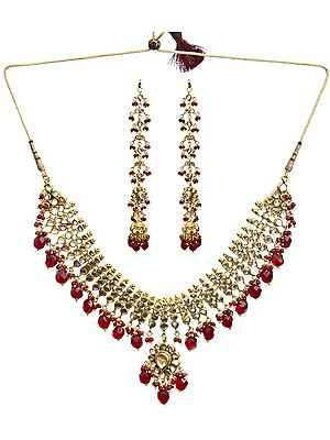 Beaded Kundan and Faux Ruby Necklace Set with Earwrap Earrings