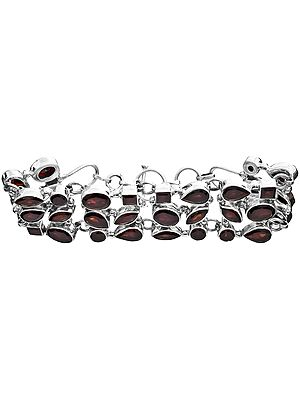 Faceted Garnet Three-Strand Bracelet
