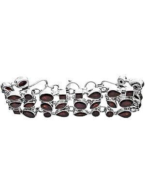 Faceted Garnet Three-Strand Bracelet