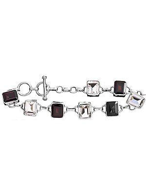 Faceted Garnet with Crystal Bracelet