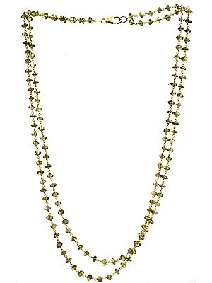 Peridot Gold Plated Two Strand Beaded Necklace