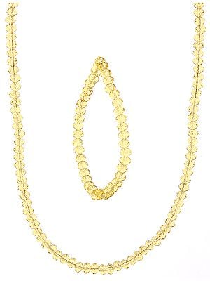Golden Necklace and Stretch Bracelet Set