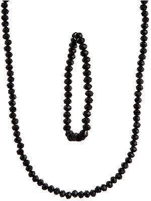 Faceted Black Necklace and Stretch Bracelet Set
