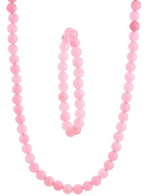 Pink Necklace and Stretch Bracelet Set