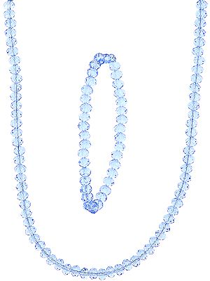 Faceted Blue Color Necklace and Stretch Bracelet Set
