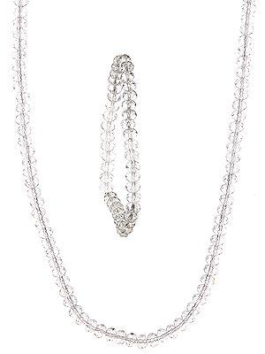 Faceted Crystal Color Necklace and Stretch Bracelet Set