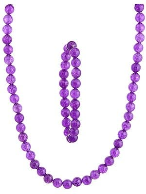 Purple Necklace with Stretch Bracelet Set