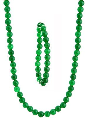 Green Necklace with Stretch Bracelet Set