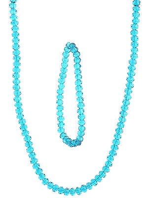 Faceted Corsair Blue Necklace with Stretch Bracelet Set