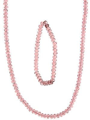 Faceted Ash Rose Necklace with Stretch Bracelet Set