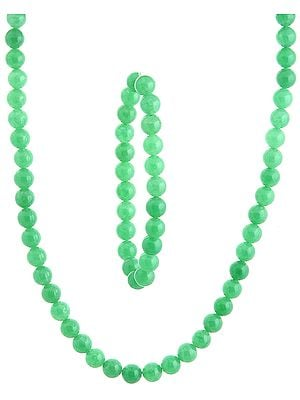 Light Green Necklace with Stretch Bracelet Set